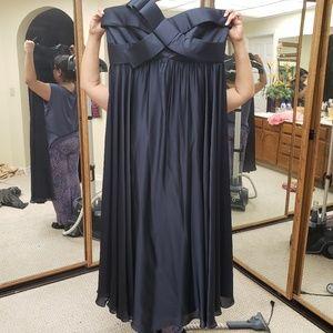 Dark blue strapless prom dress